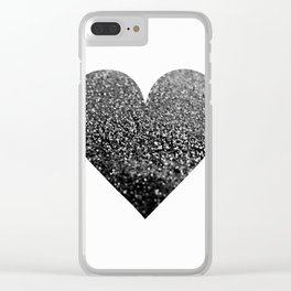 BLACK HEART Clear iPhone Case