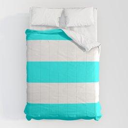 Wide Horizontal Stripes - White and Aqua Cyan Comforters