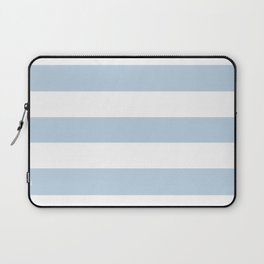 Beau blue - solid color - white stripes pattern Laptop Sleeve