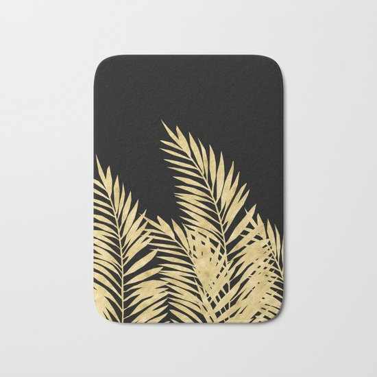 Palm Leaves Golden On Black Bath Mat