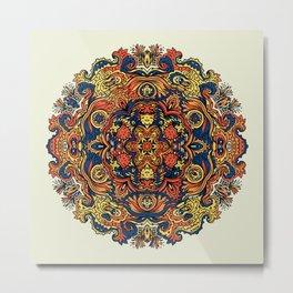 Orange Indian Mandala Metal Print