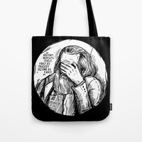 marx Tote Bags featuring Facepalm Marx by Velozee