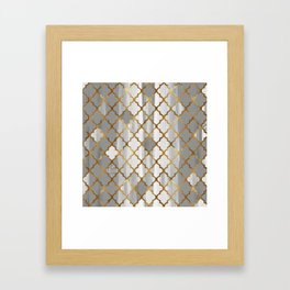 Moroccan Tile Pattern In Grey And Gold Framed Art Print