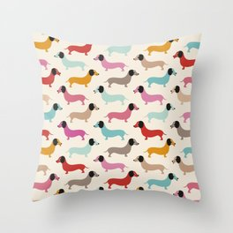 Sweet retro dachshund doxie puppy pattern Throw Pillow