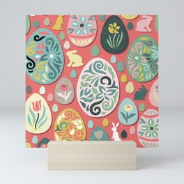 paper easter eggs and bunnies Mini Art Print