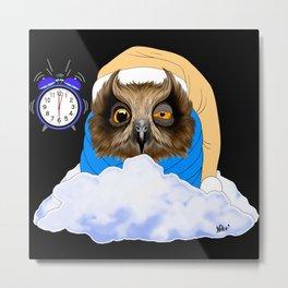 Sleepy Night Owl Metal Print