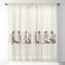 Woman Forms Sheer Curtain