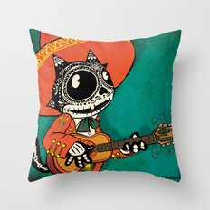 Gato de los Muertos Throw Pillow