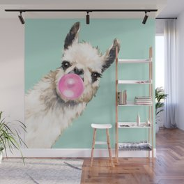 Bubble Gum Sneaky Llama in Green Wall Mural