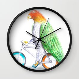 Happy Parrot and his bike Wall Clock