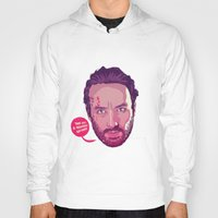 rick grimes Hoodies featuring The Walking Dead - Rick Grimes by Mike Wrobel