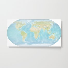 Minimalist Physical Map of the World Metal Print