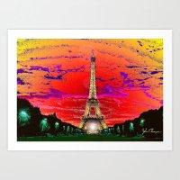 dark tower Art Prints featuring Eiffel Tower after dark by JT Digital Art