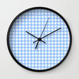 Sky Blue Gingham Wall Clock