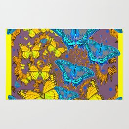 Blue & Yellow Butterflies Puce Pattern Art Rug