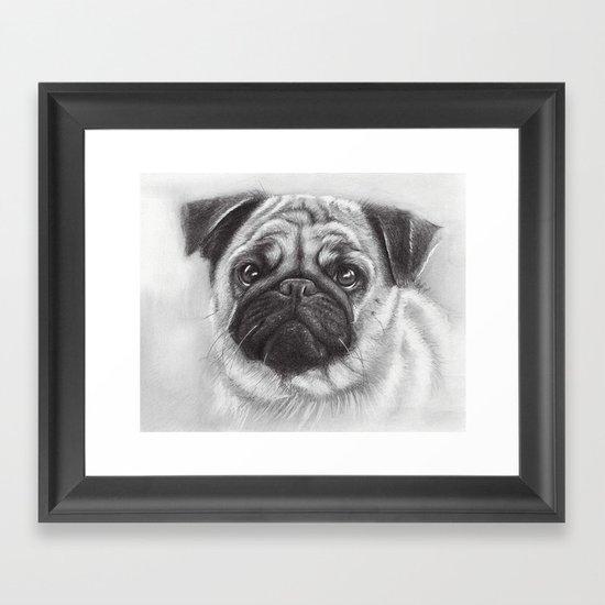 Cute Pug Dog Animal Pugs Portrait Framed Art Print