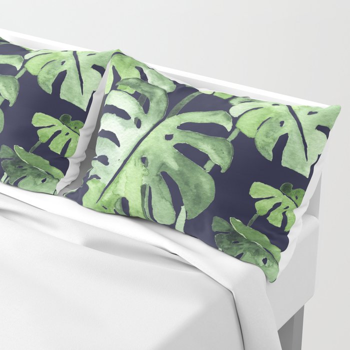 Delicate Monstera Blue #society6 Pillow Sham
