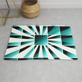 Abstract geometric turquoise Rug