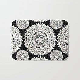 Black and Metallic White Floral Textile Mandala Bath Mat