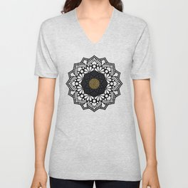"""Black & Gold Arabesque Mandala"" Unisex V-Neck"