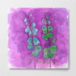 Hollyhock Foxglove Watercolor on Fuchsia Magenta Metal Print