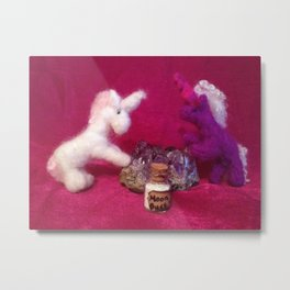 Miniature Unicorns with Moon dust Metal Print