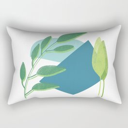 Abstract leaves print in blue and green/ modern art style leaves in blue and green Rectangular Pillow