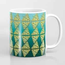 Chartreuse Leaf Triangles Ombre Teal Coffee Mug