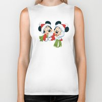 minnie mouse Biker Tanks featuring Christmas Mickey Mouse and Minnie Mouse by Yuliya L