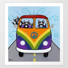 Rainbow Love Bus Cats Art Print