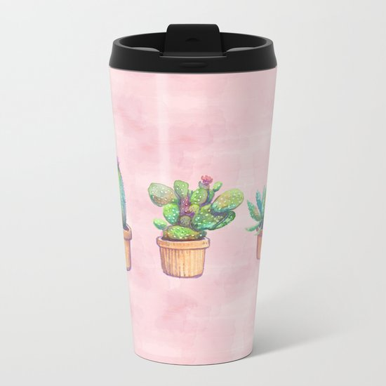 evolution cactus to pineapple water color Metal Travel Mug