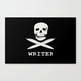 Skull and Bones with pens - Writer Design Canvas Print