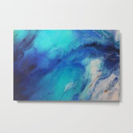 Blue Watercolor Abstract Metal Print