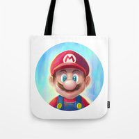 mario kart Tote Bags featuring Mario Portrait by Laurence Andrew Page Illustrator