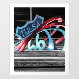 Tulsa Oklahoma's Route 66 Rising Landmark Sculpture in Selective Color Art Print