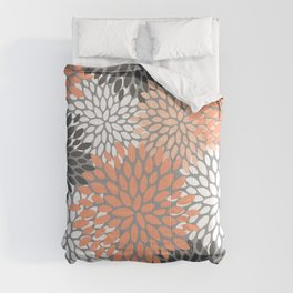 Floral Pattern, Coral, Gray, White Comforters