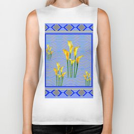 Shades of Blue Yellow Calla Lily Art Biker Tank