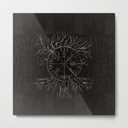 Vegvisir and Tree of life Yggdrasil Metal Print
