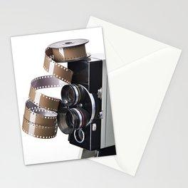 Retro movie camera and reel film Stationery Cards