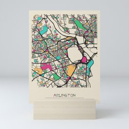 Colorful City Maps: Arlington County, Virginia Mini Art Print