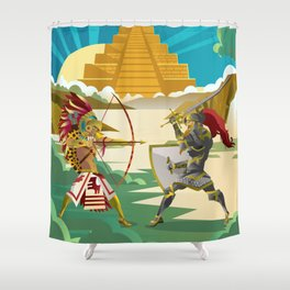 european knight fighting an aztec warrior in the jungle Shower Curtain