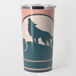 Howling at the Moon Landscape 233 Beige Green and Dusty Rose Travel Mug
