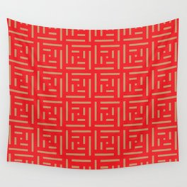 Human History (Red and Brown) Wall Tapestry