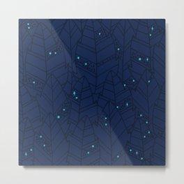 Leaves Pattern - Dark Night Metal Print