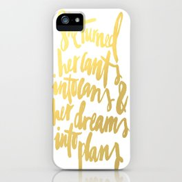 Gold Brushstroke Watercolor SheBelieved She Could Love Heart Ink Calligraphy Inspiration Typography iPhone Case