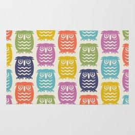 Mid Century Owl Pattern Multi-Color 22 Rug
