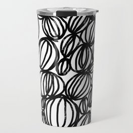 Loop black and white minimalist abstract painting mark making art print Travel Mug
