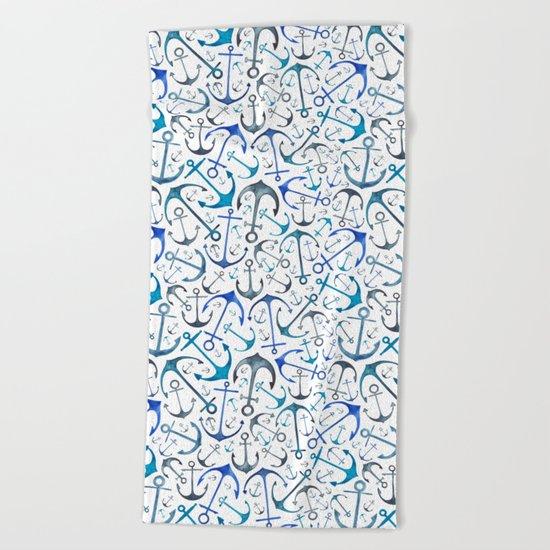 Nautical Watercolour Anchors Beach Towel