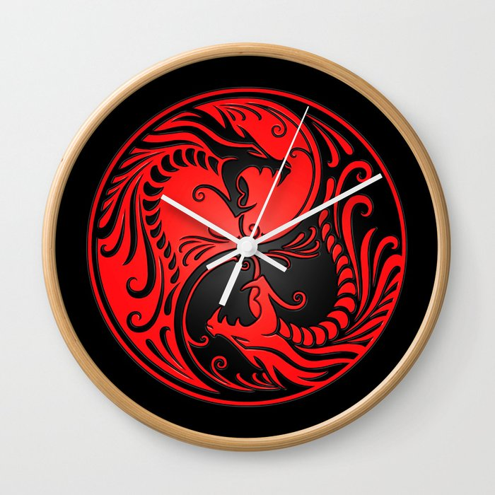 Yin Yang Dragons Red And Black Wall Clock