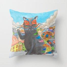 Cat Painter Throw Pillow